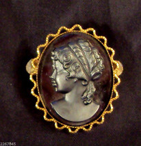 "Black Cameo Scatter Pin Victorian Style Brooch 1 1/ 2"" long VTG Gold Plated - $15.80"