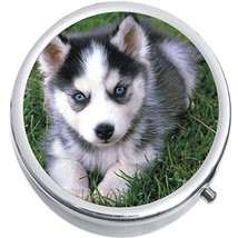 Husky Puppy Dog Medicine Vitamin Compact Pill Box - $9.78