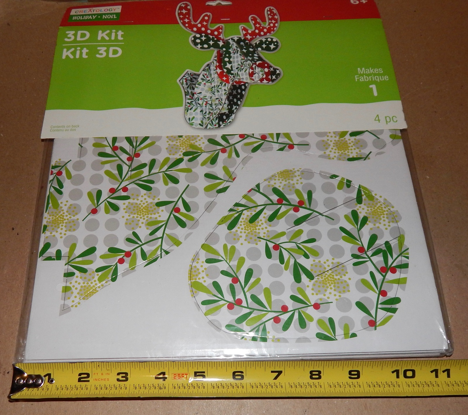 Christmas Reindeer 3D Craft Kit 4pc Large Creatology Double Walled Paper 174Y