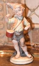 """Capodimonte Italy Figurine Drummer Missing Drum Sticks Blue """"N"""" Mark Bisque 7""""H - $99.99"""