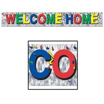 Metallic Welcome Home Fringe Banner Party Accessory 5 ft long x 8 in mul... - $6.80