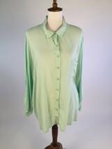 Splendid Womens Button Down Shirt 3X 26W Green Long Sleeves Rayon A83-07Z - $16.37