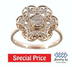 Rose Gold Diamond Ring Unique Floral Cocktail 14K Solid 0.25Ct Natural J... - $1,601.00