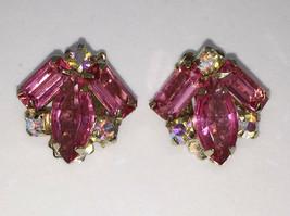 Clip On Earrings Pink Faceted Stones Rhinestones Gold Tone Metal Pair Vi... - $12.86