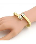 UE-Sparkling Gold Tone Hinged Bangle Bracelet With Sleek Polished Finish  - $14.99