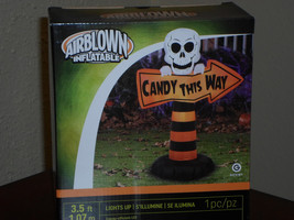 Halloween Gemmy Skeleton with Candy This Way Sign Lighted Airblown Infla... - $50.54 CAD