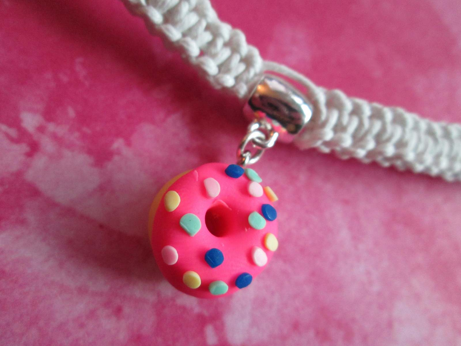 Handmade White Hemp Necklace with Awesome Pink Sprinkled Doughnut Charm Pendant