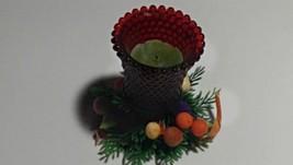 "Vintage 60s Lenox Hobnail Glass TEA Candle Ensemble RED 4"" X 4"" PRISTINE... - $8.03"