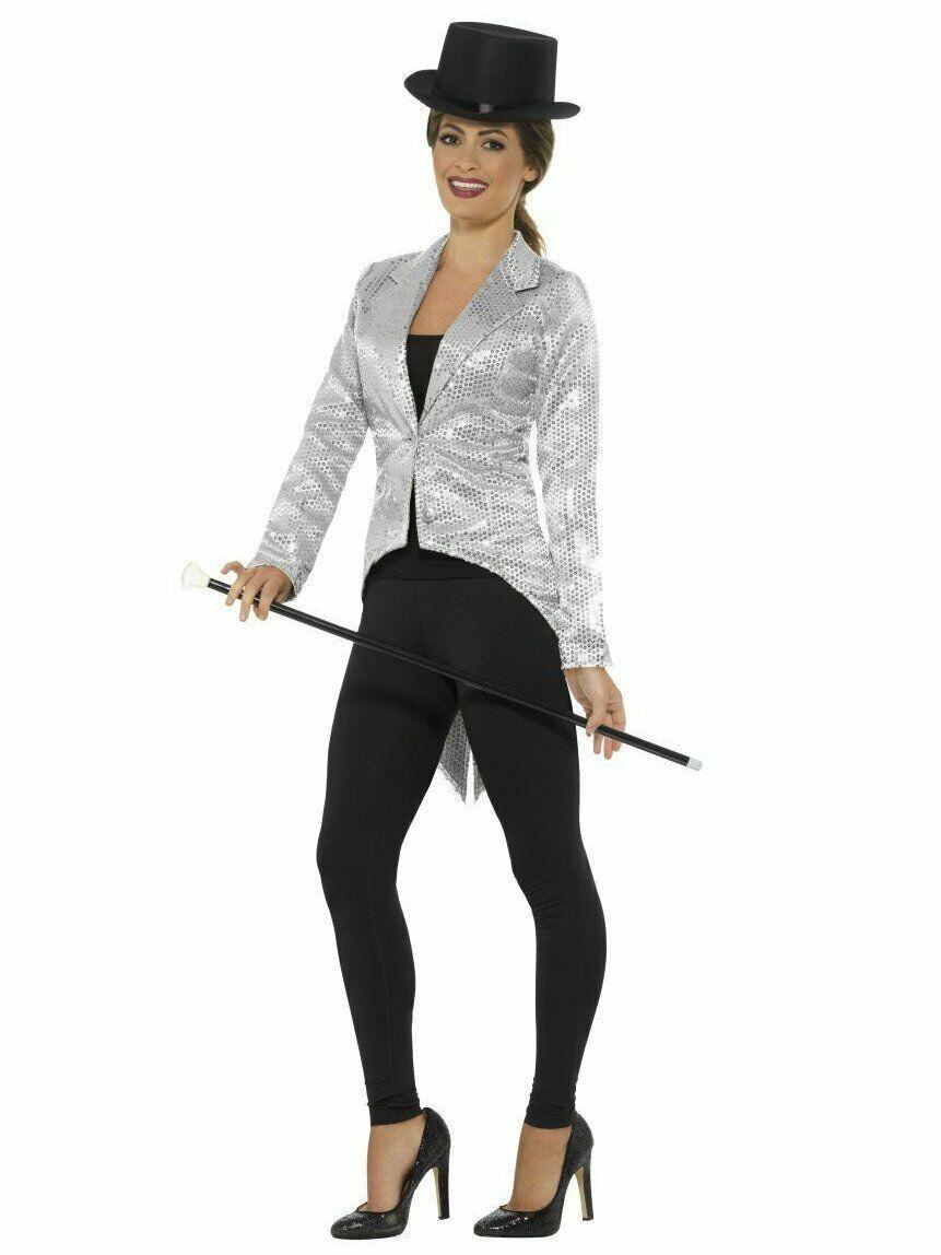 Smiffys Strass Frac a Coda di Pesce Argento Giacca Costume Halloween Accessorio