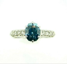 14k White Gold 2.88ct Blue Genuine Natural Zircon and Diamond Ring (#J5004) - €880,72 EUR