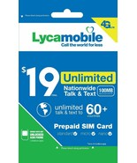 Lycamobile $19 Plan 1st Month Free Triple Cut SIM Card 4G Unlimited Talk... - $9.89