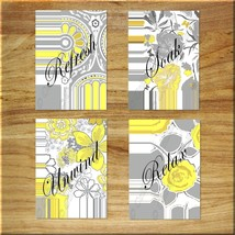 YELLOW and GRAY Wall Art Bathroom Flower Floral Picture Prints Decor Rel... - $13.99