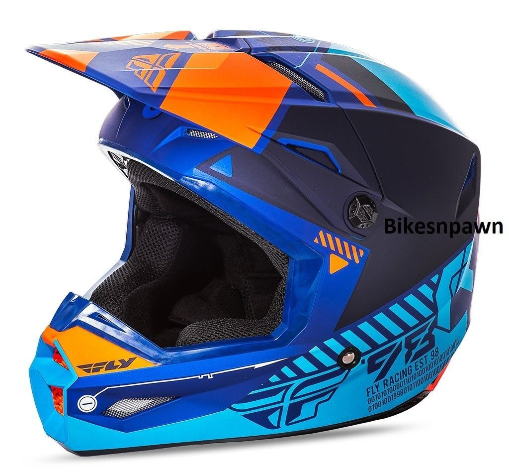 New M Adult Fly Racing Elite Onset Motocross Off Road Helmet Matte Blue/Orange