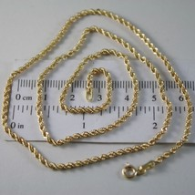 18K YELLOW GOLD CHAIN NECKLACE, BRAID ROPE LINK 15.75 INCHES, MADE IN ITALY image 1