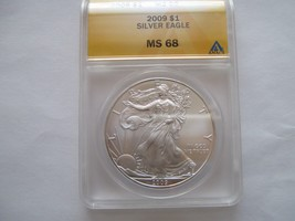 2009 silver eagle ms 68  anacs certified rim toning - $85.00