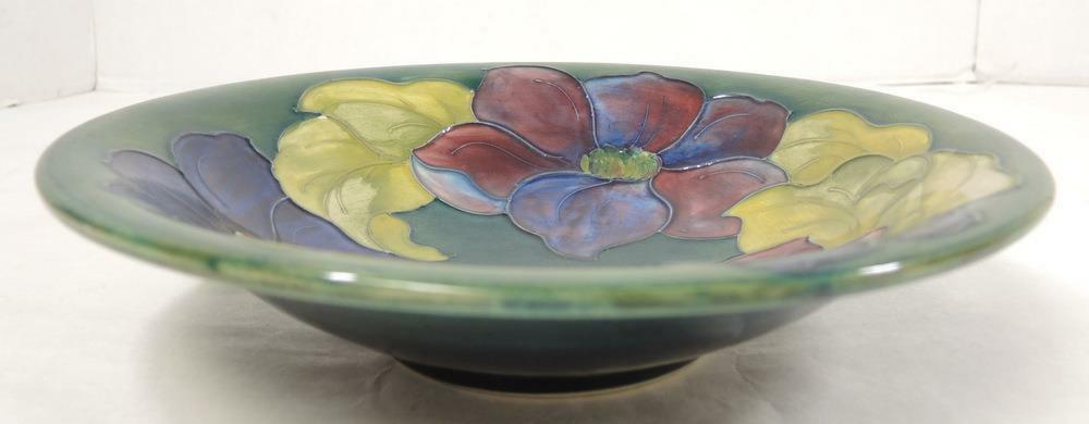 "Primary image for Large 9 3/4"" Vintage Moorcroft Bowl * Clematis Pattern * Royal Pattern Label"