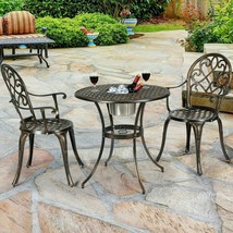 3 Piece Cast Aluminum Outdoor Table and 2 Chair Bistro Set with Ice Bucket - $158.35