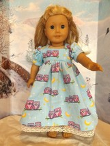 """homemade 18"""" american girl/madame alexander blue owl nightgown doll clothes - $21.78"""