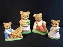 Homco Thanksgiving picnic bear family 4 pces Mother Father boy girl 1462 - $10.55