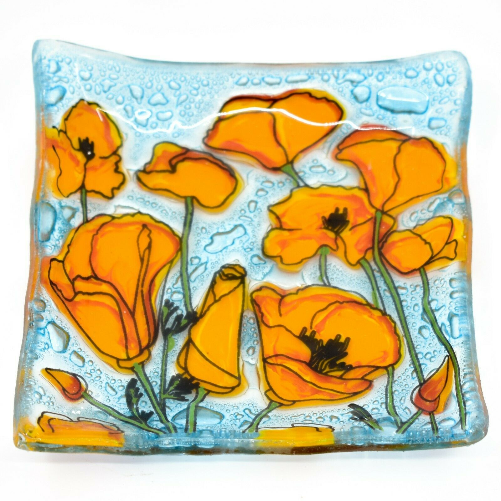 Fused Art Glass Orange Poppies Flower Design Square Soap Dish Handmade Ecuador