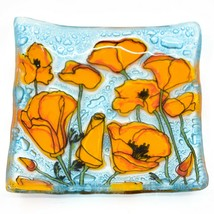 Fused Art Glass Orange Poppies Flower Design Square Soap Dish Handmade Ecuador image 1