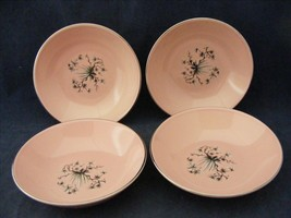 "4 Taylor Smith Taylor Dwarf Pine Pink 5.25"" Fruit Bowls Platinum Trim - $19.95"
