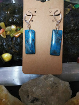 Natural Stone Dark Blue Crazy Lace Agate EarRings 925 Sliver Lever back ... - $14.36