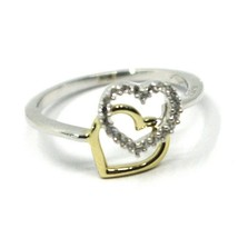 SOLID 18K YELLOW WHITE GOLD DOUBLE HEART RING WITH CUBIC ZIRCONIA  image 2