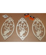 "Halloween Wooden Laser Tags Plaques Crafts Creatology 8"" x 4"" BOO 3ea Si... - $4.49"