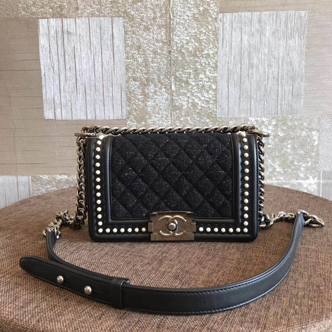 AUTHENTIC 2019 CHANEL BLACK Limited Edition Leather Small Boy Flap Bag