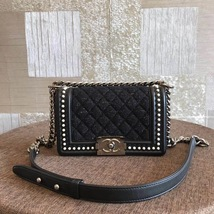 AUTHENTIC 2019 CHANEL BLACK Limited Edition Leather Small Boy Flap Bag image 1