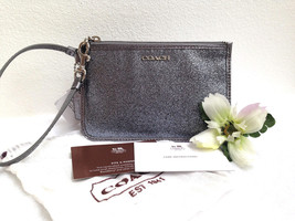 COACH Legacy Glitter Small Wristlet in Silver Leather - Style 50374 - NWT - $44.54