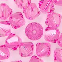 6mm Rose Swarovski Xilion Beads, 5328, 72 pink glass bicone - $12.00