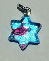 Murano Glass Star of David Judaica Pendant Torquoise Purple Sparkle Veni... - $15.90