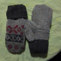 Recycled Wool Ladies Tan/Brown/Multi Nordic Fleece Lined  Mittens Size M/L - $17.82
