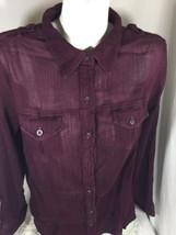 Sonoma Women Burgundy Casual Shirt Long Sleeve Size 1x Made In India Bin73#10 - $11.30
