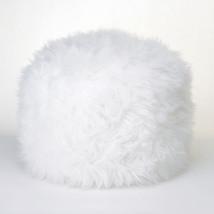 Fuzzy White Ottoman Footstool 10015183 - $57.45