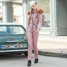 Women's Pink Siamese Cotton Quilted One Piece Fashion Snowsuit Ski Jumpsuit