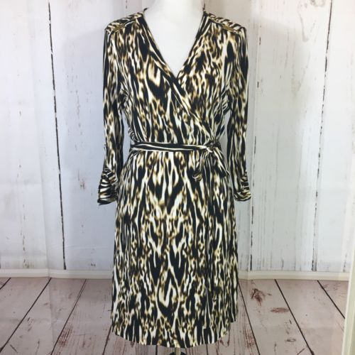Primary image for Calvin Klein Animal Print Jersey Knit Wrap Dress Size 14 3/4 Sleeves