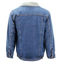 Men's Classic Button Up Sherpa Fleece Lined Cotton Denim Trucker Jean Jacket image 3