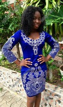 Odeneho Wear Ladies Blue Polished Cotton Dress/White Embroidery.African Clothing - $89.09+