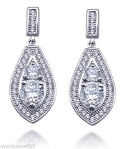 Nice Fashion Dangle Earrings Sterling Silver 925 Pave Set White Cubic Zi... - $37.99