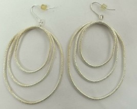 "VINTAGE SILVER TONE PIERCED DROP DANGLE EARRINGS 3"" - $8.12"
