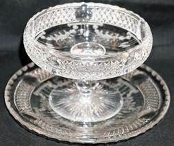 ABP American Brilliant Period Hawkes Cut Glass Footed Dish & Plate Diamo... - $118.75