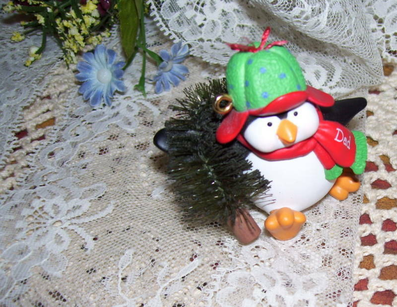 Primary image for HALLMARK ORNAMENT PENQUIN DAD W/ CHRISTMAS TREE