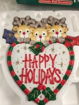 vtg HAPPY HOLIDAYS REINDEER Wall Plaque Christmas Holiday dolomite ceramic - $14.84