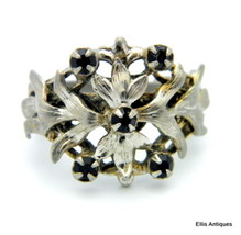 VINTAGE RARE GARNET PASTE SILVER LEAF GOTHIC ART NOUVEAU RING S6 to 7.5 - $64.79