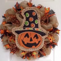 Burlap Jack O'Lantern Wreath Handmade Deco Mesh - £68.50 GBP