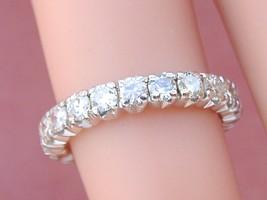 VINTAGE MID-CENTURY 1.6ctw DIAMOND WHITE 18K ETERNITY BAND RING 1950 siz... - $2,276.01