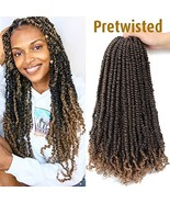 7 Pacs Pre Twisted Passion Twist Hair Pre-looped Passion Twist Crochet H... - $42.44